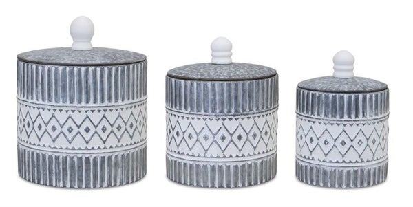Chippy White Round Canisters