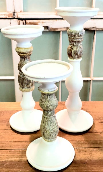 White & Natural Wooden Candlesticks
