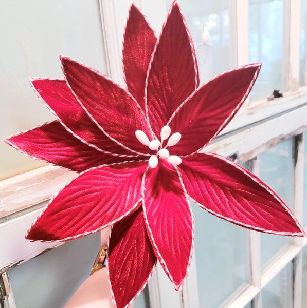 Velvet Poinsettia Pick