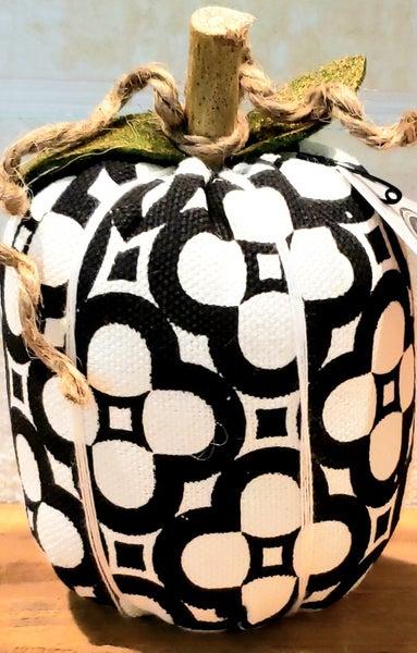 Black & White Clover Fabric Pumpkin