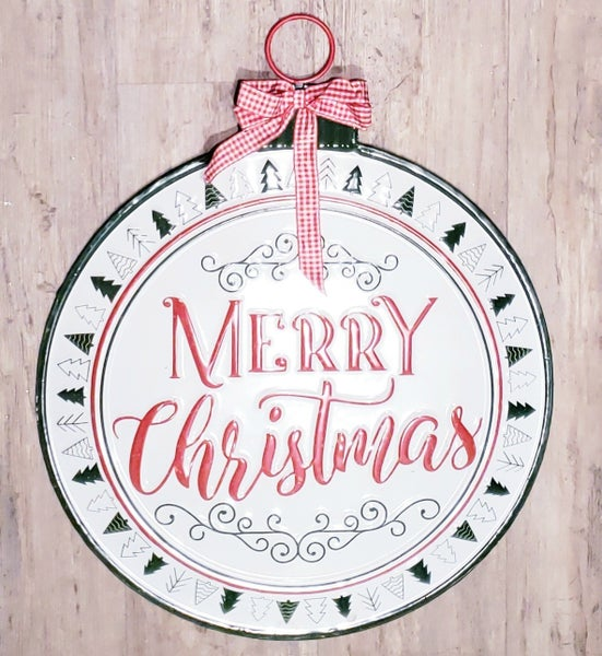 Red/Green Round Merry Christmas Sign