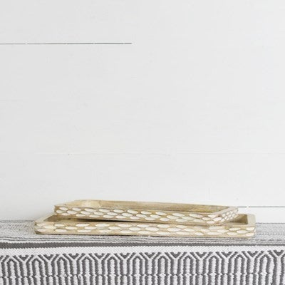 Rectangular Carved Wooden Trays