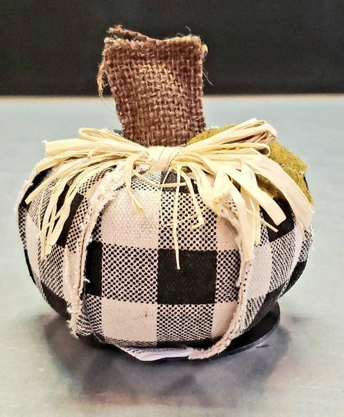 Mini Black Check Fabric Pumpkin