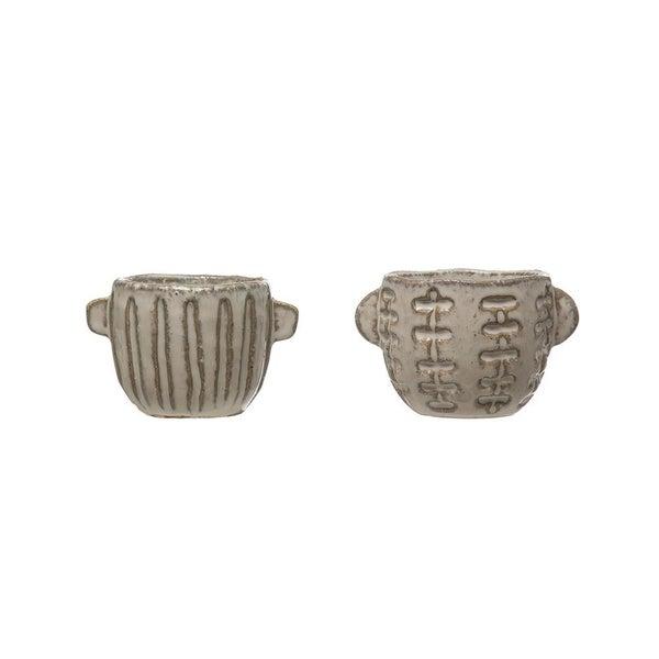 White Stoneware Pot