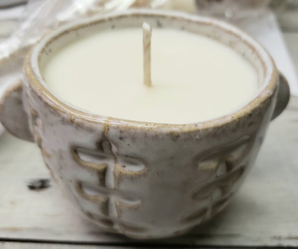 White Stoneware Candle in Bayberry