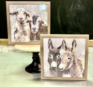 Small Farm Animal Glass Pictures