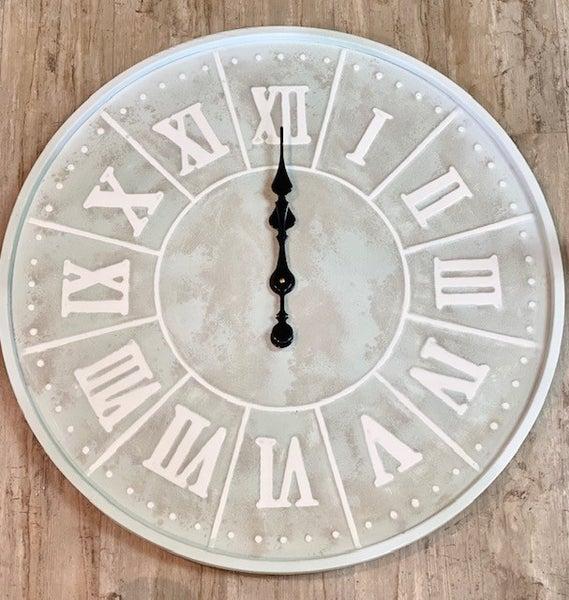 Lg Seafoam Blue Clock