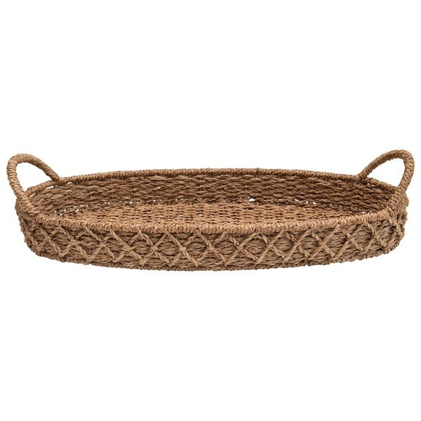 Large Oval Woven Tray w/ Handles