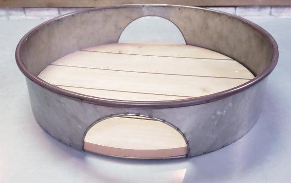 Round Wood/Metal Cutout Trays