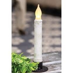"White Textured 6"" Taper Candle w/ Timer"