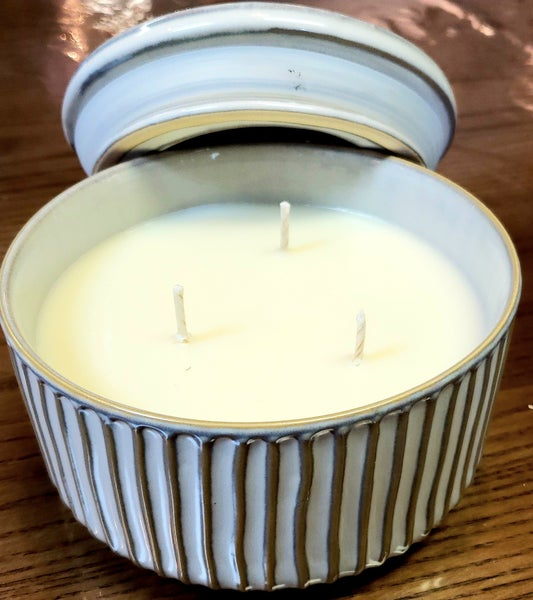 Stripe Stoneware Candle W/ Lid