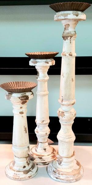 Cream Wood Distressed Candlesticks