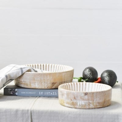 White Washed Wooden Bowls