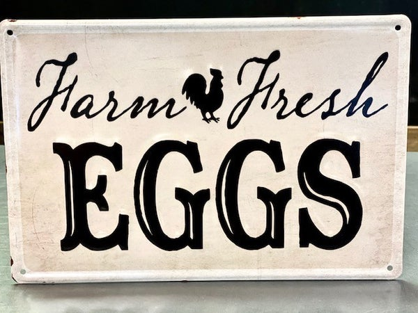 Embossed Farm Fresh Egg Sign