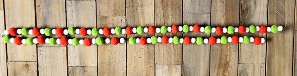 Red/Green Pom Pom Garland
