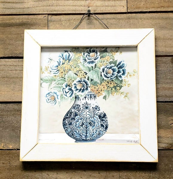 Blue Antique Floral Arrangement w/ White Wooden Frame