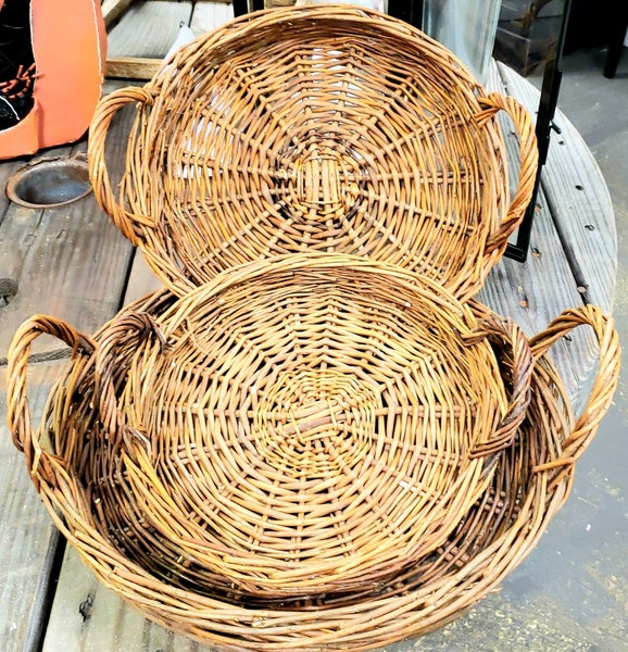 Round Walnut Willow Trays w/ Handles