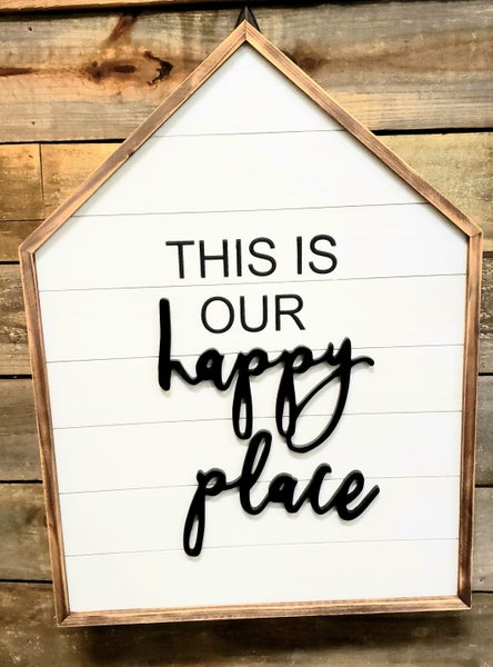 Wooden Home Happy Place Sign