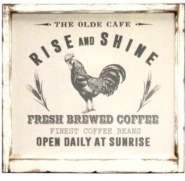 Fabric Rise and Shine Rooster Sign