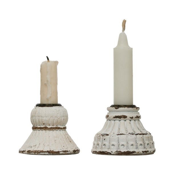 Chippy White Round Taper Candle Holder
