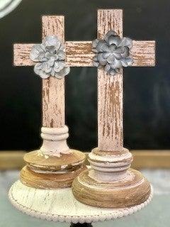 Wooden Cross on Pedestal w/ Flower