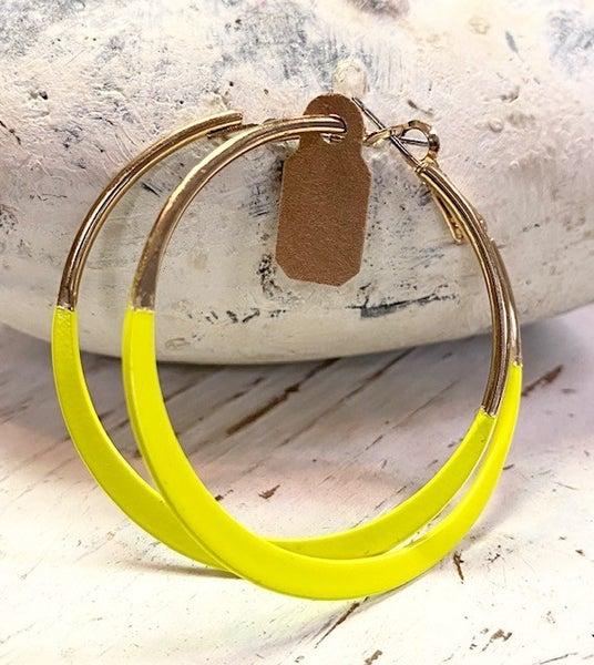 Neon Yellow Hoop Earrings