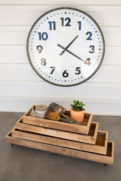 Recycled Wooden Trays with Wire Bases