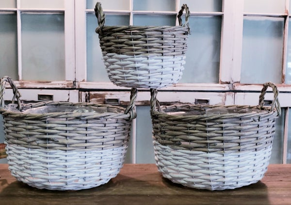White Dipped Willow Baskets