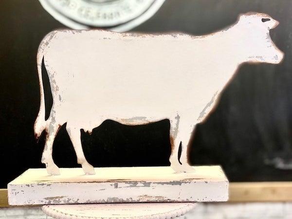 Chippy White Metal Cow