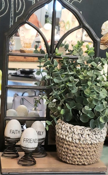 Eucalyptus in Woven Pot