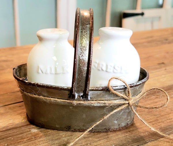 Milk Bottle Salt & Pepper Shaker in Galvanized Basket