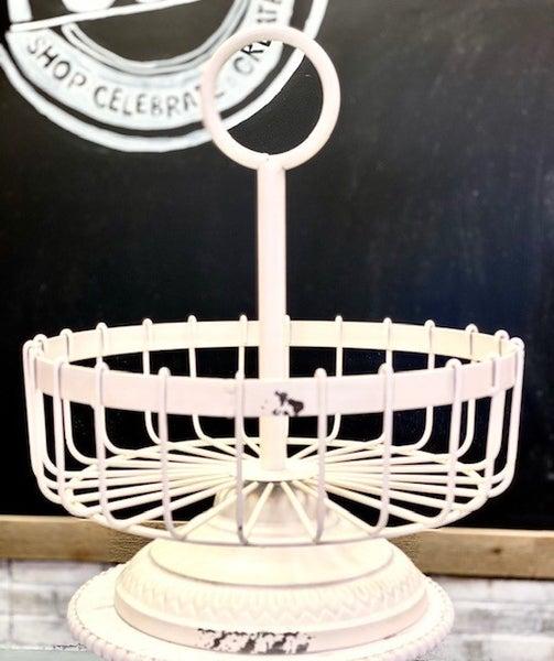 White Handled Metal Basket