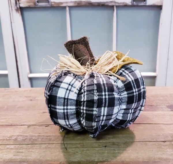 Medium Black Plaid Fabric Pumpkin