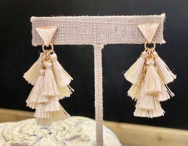 Cream Mini Tassel Earrings