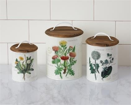 Botanical Canisters with Wood Lids