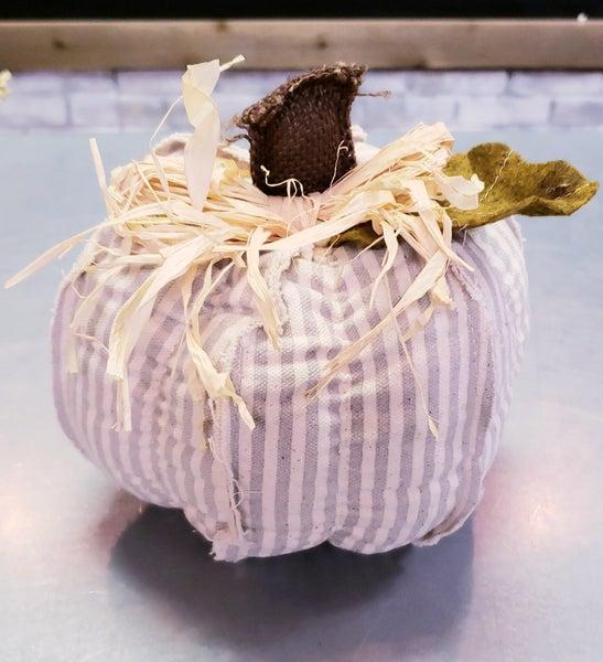 Medium Grey Stripe Fabric Pumpkin