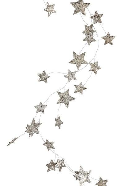 Silver Glitter Star Garland