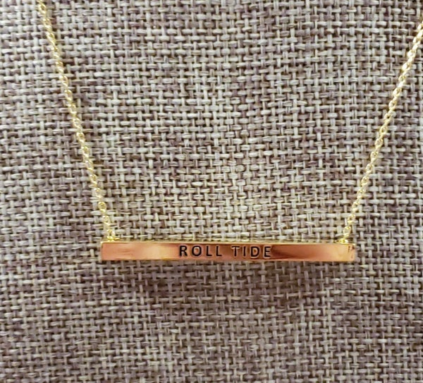 Collegiate Gold Bar Necklace