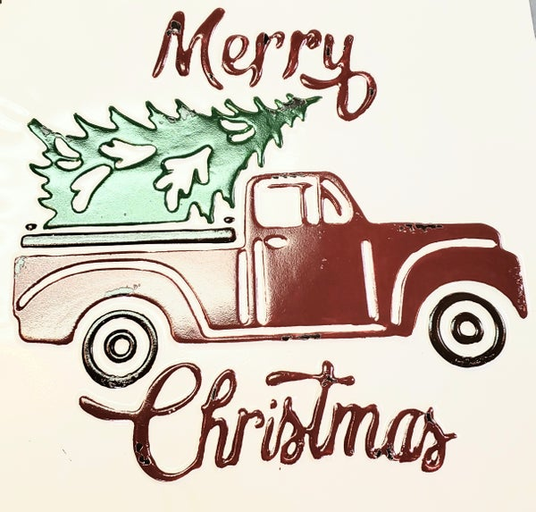 Enamel Red Christmas Truck Sign