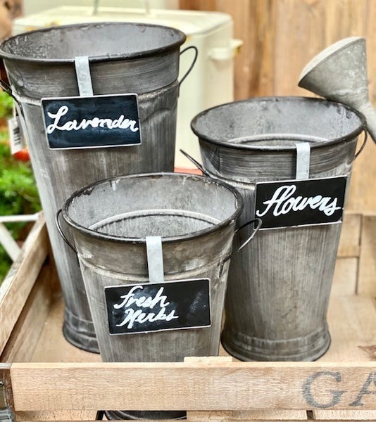 Zinc Buckets with Chalkboard Plaques