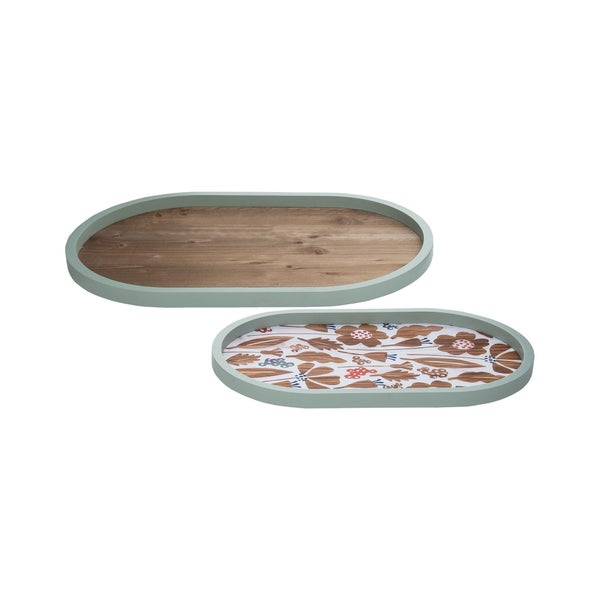 Blue Oval Floral Trays