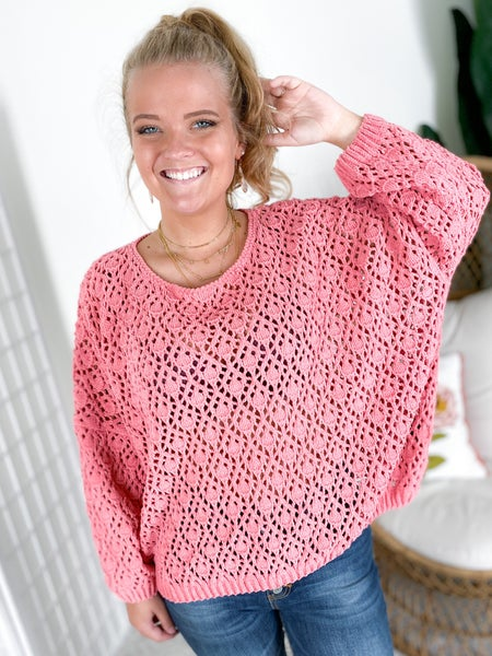 POL Pink Diamond Crochet Chenille Sweater