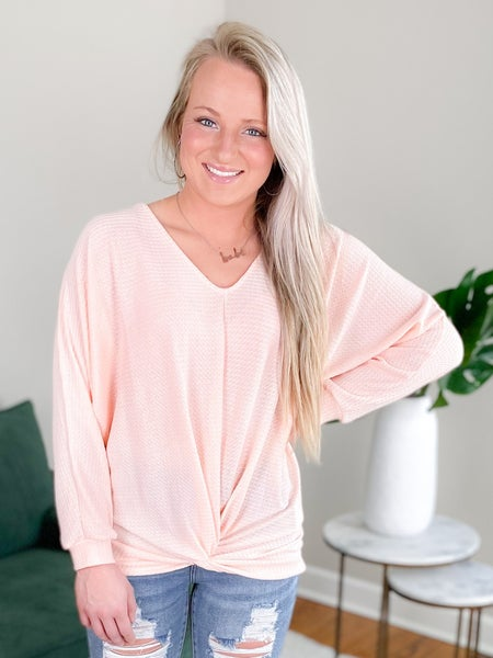 Solid Long Sleeve Waffle Knit With Front Twist (Multiple Colors)