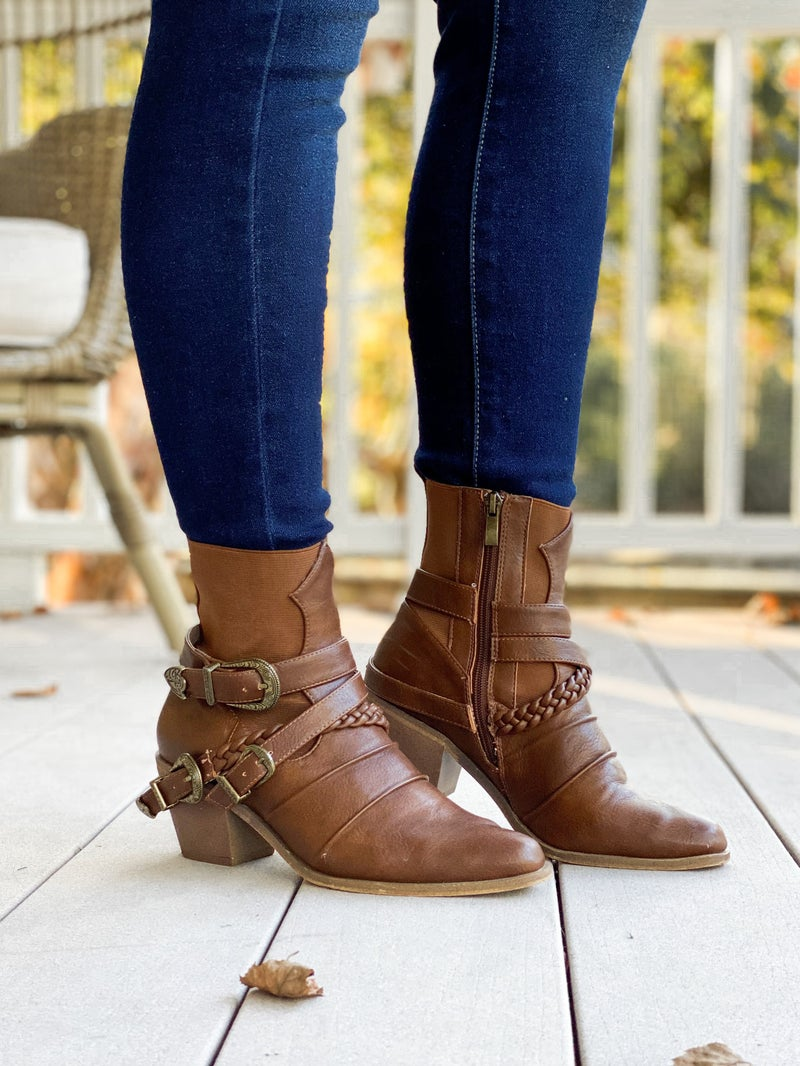 Strap & Buckle Western Style Boot with Heel