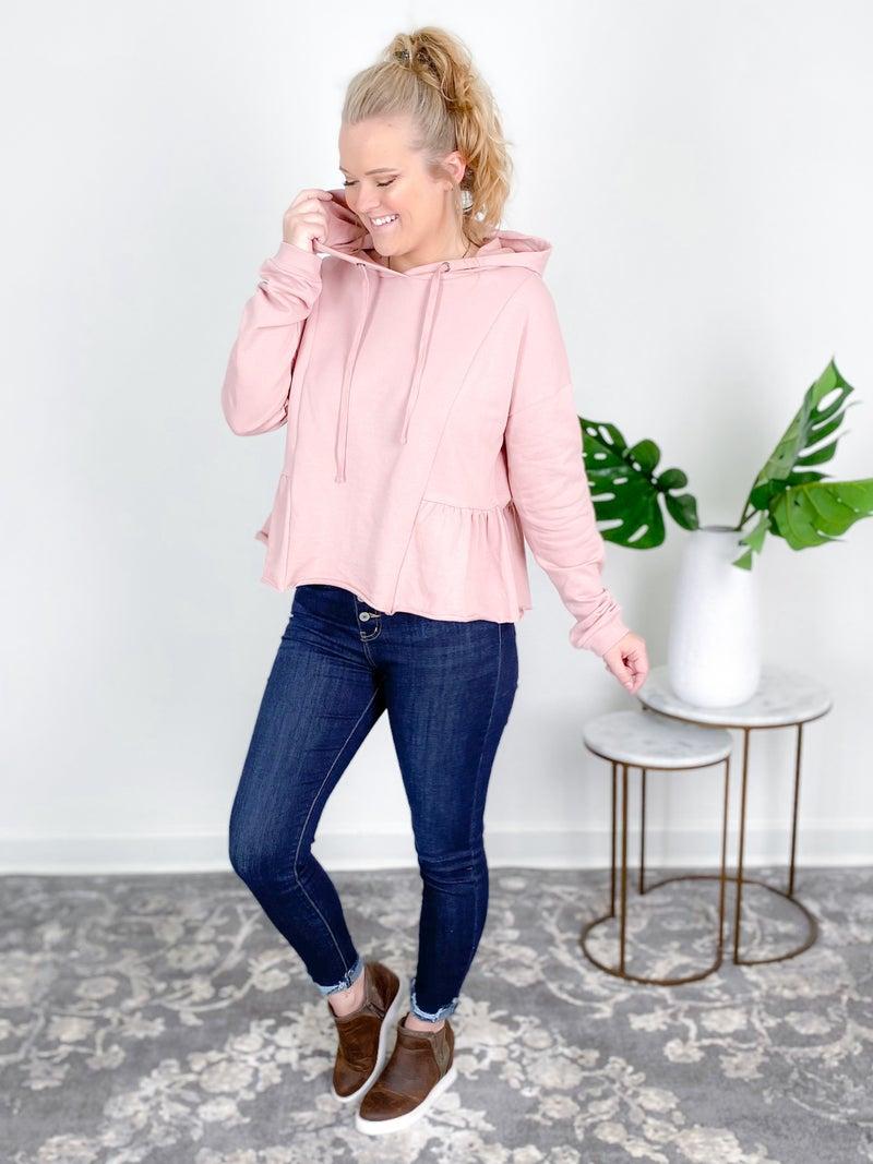 Solid Peplum Hoodie Sweatshirt
