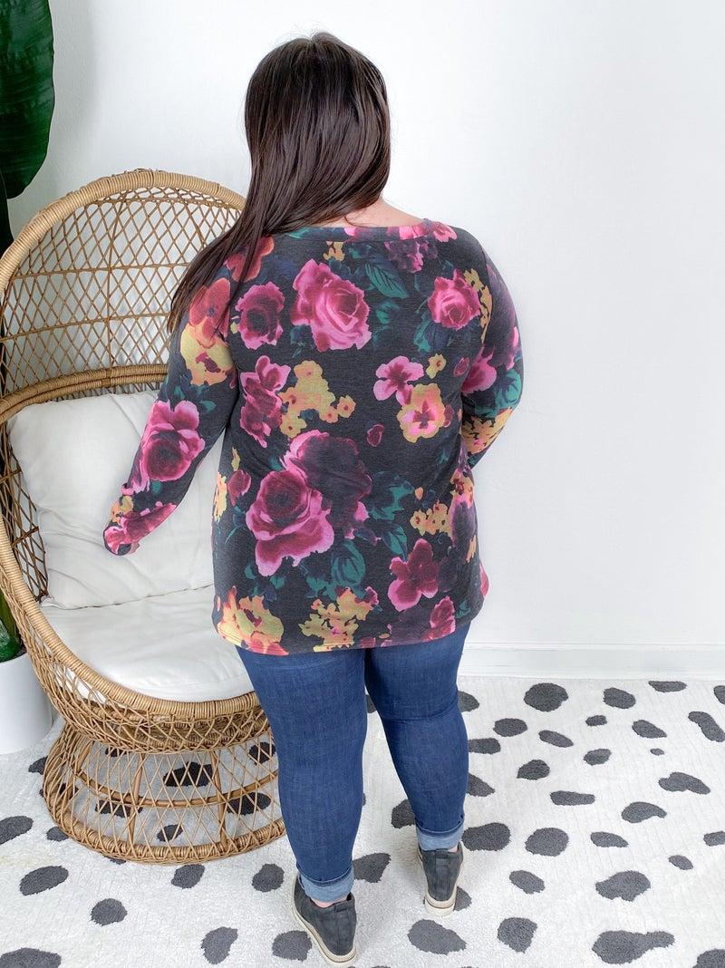 PLUS/REG Long Sleeve Floral V Neck Top With Bar Detail