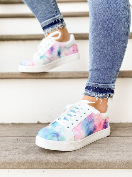 Cotton Candy Pink & Blue Tie Dye Sneakers