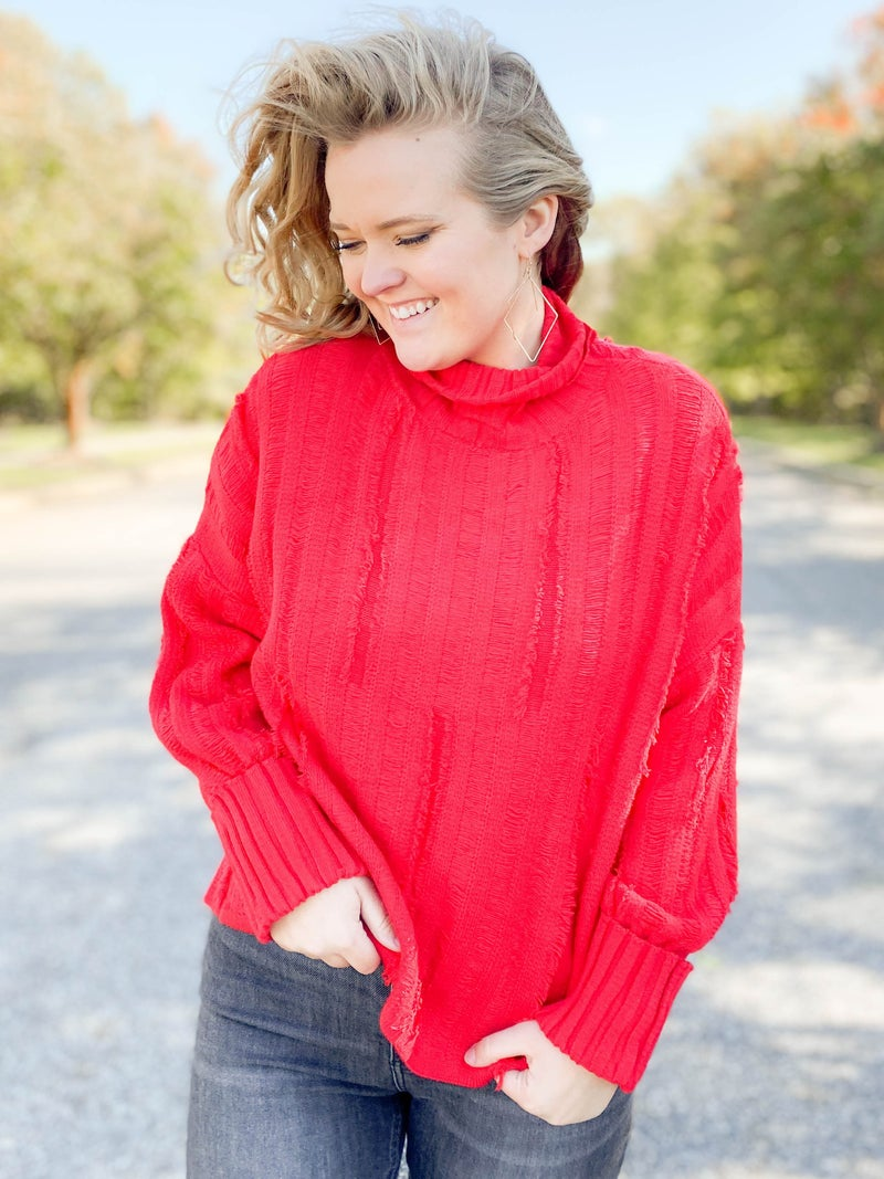 Distressed Ribbed Knit Red Turtleneck Sweater