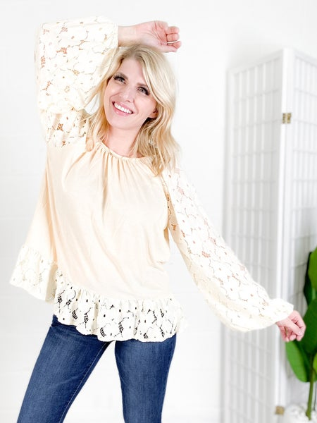 Floral Lace Balloon Sleeve Top