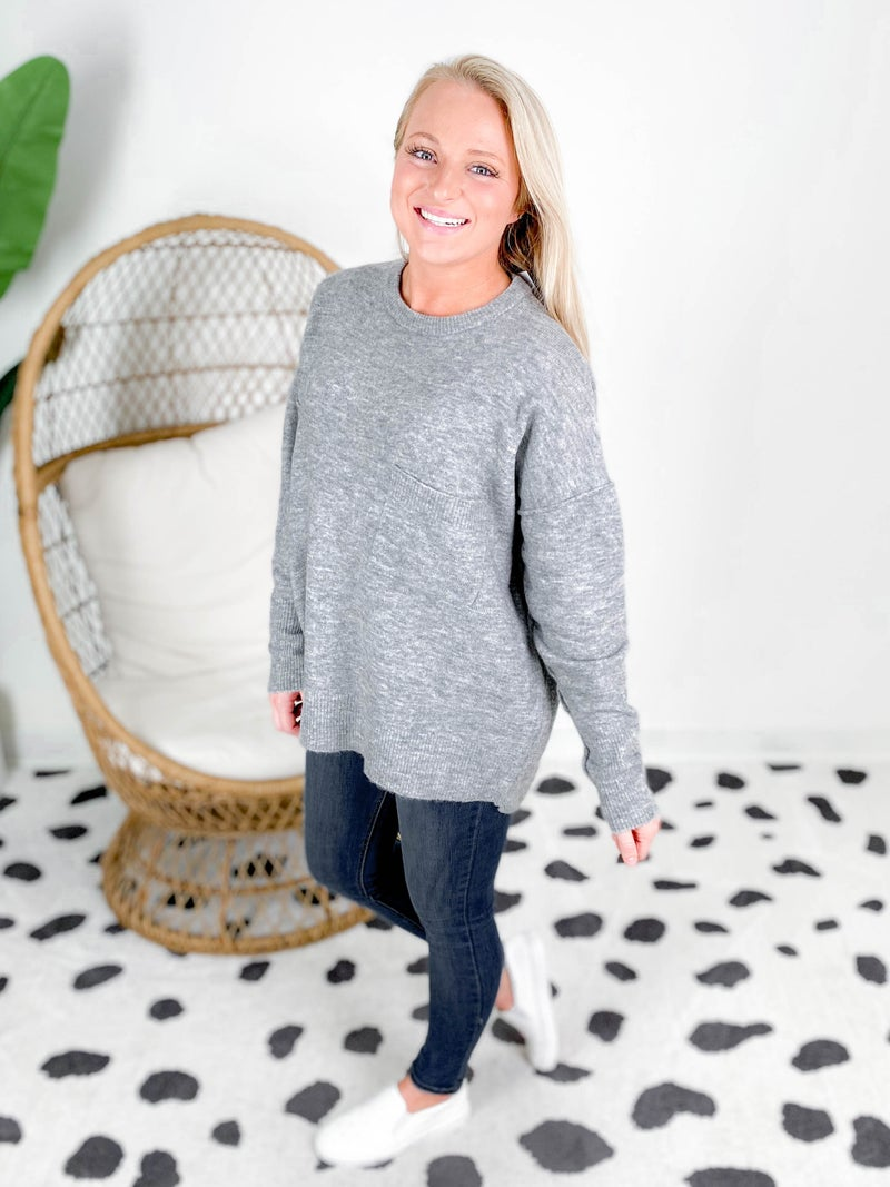 Door Buster! Zenana High Low Sweater With Pocket Detail (Multiple Colors)